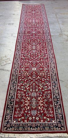 3x20 Persian Sarouk Style Oriental Hand Knotted Wool Reds Blues New Rug Runner #TraditionalPersianOriental