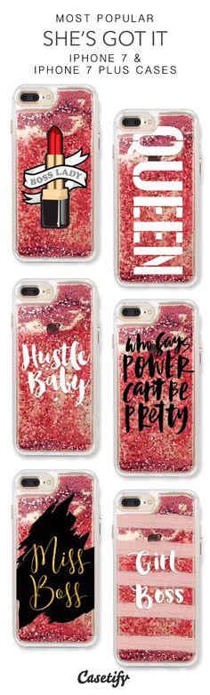 Most Popular She's Got It iPhone 7 Cases & iPhone 7 Plus Cases. More liquid glitter iPhone case here > https://www.casetify.com/en_US/collections/iphone-7-glitter-cases#/?vc=u7uGIM5Ha5