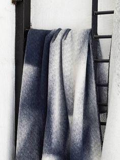 Islandskap Blue Nature Blanket by Røros Tweed Tweed, Textiles, Household Products, Island, Home Textile, Linen Bedding, Norway, Blankets, Indigo