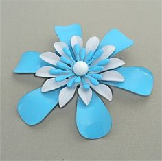 Older Vintage Enamel Flower Brooch 1960s 1970s Style HIPPIE CHIC Groovy FLOWER POWER Enamel Daisy Brooch Aqua Turquoise Blue White C Clasp by malibloom, $20.00