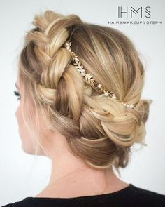 Featured: Hair and Makeup by Steph; chic braided updo wedding hairstyle;
