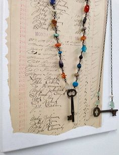 Dishfunctional Designs: Creative Ways To Display Jewelry On Gallery Walls. Skeleton Key Necklace Designs.