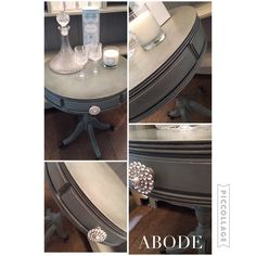Mahogany drum table painted in Annie Sloan duck egg blue and finished in clear and black wax  available at Abode Interiors Ludlow