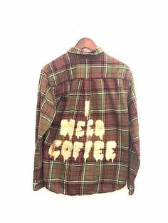 I Need Coffee Shirt in Plaid Flannel. Bleached Dye, Gifts for Coffee Addicts. Unisex. ONE OF A KIND. Bambiandfalana.com
