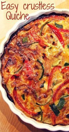 Easy vegetable crustless quiche (dairy free) Loaded with veggies, and free from grains & dairy, this delicious crustless quiche is perfect for the diet. Try it for breakfast, lunch or dinner! Veggie Recipes, Vegetarian Recipes, Cooking Recipes, Healthy Recipes, Keto Recipes, Dairy Free Quiche Recipes, Vegetarian Quiche, Paleo Quiche, Gluten Free Quiche