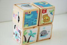 Wooden Pirate Blocks - Baby Boy Nursery Decor