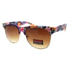 Half rim wayfarer clubmaster sunglasses with wall paper floral pattern