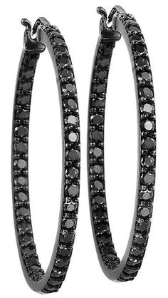 Black Diamond Hoop Earrings 2.0 ctw $2750.00...seriously QVC for under a $100