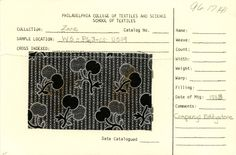 Cherry print on cotton. Company: Eddystone. 1883.    Mourning wear fabric printers in Chester, PA.