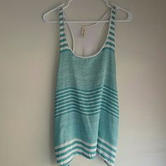 Striped tank - off white and teal NOT AA, Just listed for views. Striped tank - off white and teal American Apparel Tops Tank Tops