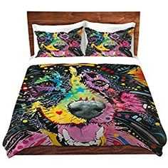 Smiling Collie Dog Duvet Cover Brushed Twill Twin, Queen, King SETs DiaNoche Designs by Dean Russo Unique Home Decor Bedding ideas