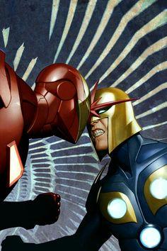 Iron Man vs. Nova by Adi Granov