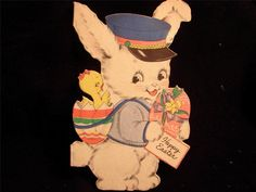 "VINTAGE ""IT'S TIME FOR THE EASTER BUNNY TO COME!!"" EASTER GREETING CARD"