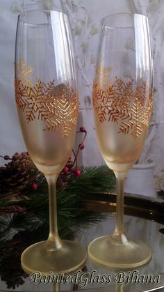 Set of 2 Winter Wedding toasting hand painted champagne flutes Golden snowflakes by PaintedGlassBiliana