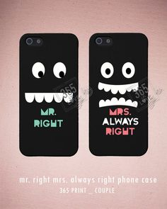 Mr. Right and Mrs. Always Right Couples Matching Phone Cases for iphone 4 4S 5 5C Galaxy S3 S4 - Romantic Gift from 365inlove.com