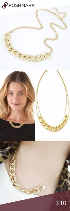 Double Chain Gold Plated Necklace BRAND NEW. Gold plated double chain necklace with chunky chain detail. AVAILABLE: 2. Jewelry Necklaces