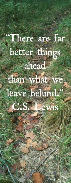 There are far better things ahead than the things left behind. C.S. Lewis