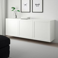 Floating Cabinets, Ikea Cabinets, Tv Cabinet Ikea, Wall Mount Tv Cabinet, Floating Media Cabinet, White Buffet Cabinet, White Media Cabinet, Wall Mounted Tv Console, Sideboard Cabinet