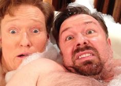 Conan & Ricky Conan makes another appearance on the list, perhaps not so surprisingly. This time he is seen with a derping Ricky Gervais in a bubble bath. Just another day in the life of Conan O'Brien, one would suppose. Celebrity Selfies, Best Selfies, Celebrity Photos, Queens Of Comedy, Conan O Brien, Ricky Gervais, All That Matters, Celebs, Celebrities