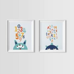 Blue Monster Wall Art Set, Monsters ABC and Numbers set, Instant Download, Boys Wall Art, Monster Wall Art, downloadable file by MiniLearners on Etsy https://www.etsy.com/uk/listing/202443994/blue-monster-wall-art-set-monsters-abc
