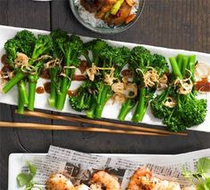 Thin-stemmed broccoli with hoisin sauce & fried shallots