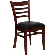 FlashFurniture XU-DGW0005LAD-MAH-BLKV-GG Hercules Series Mahogany Finished Ladder Back Wooden Restaurant Chair with Black Vinyl Seat - http://www.furniturendecor.com/flashfurniture-xu-dgw0005lad-mah-blkv-gg-hercules-series-mahogany/ - Categories:Dining Chairs, Dining Room Furniture, Furniture, Home and Kitchen