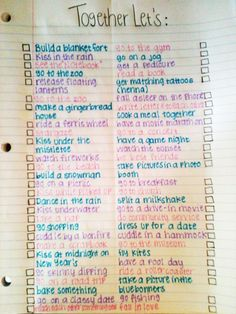 Relationship bucket list. so cute!