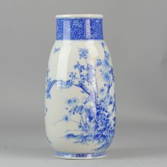 Very nice japanese Seto ware Blue & White large vase Nice Quality hand painted marked ca 1900