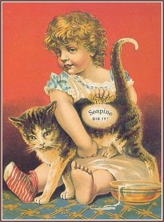 Vintage ad with girl and cat Éphémères Vintage, Vintage Labels, Vintage Ephemera, Vintage Prints, Vintage Pictures, Vintage Images, Vintage Illustration, Image Chat, Decoupage