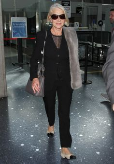28 January Also spotted at LAX, Helen Mirren wore a tailored two-piece and ballet pumps.   - HarpersBAZAAR.co.uk