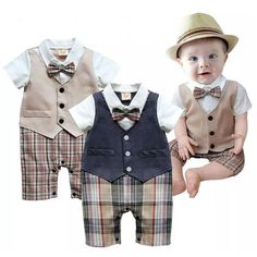 >> Click to Buy << 2017 Summer Baby Boys Clothes Tuxedo Rompers Shortall Baby Jumpsuit Costumes Bebe Clothing One-Piece Vest Boties Body Suit Grid #Affiliate