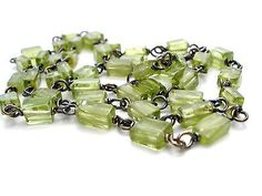 "Sterling Silver Peridot Gemstone Link Necklace 16"""" Vintage Jewelry Fashion"