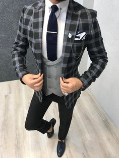 Product: Slim-Fit Plaid Suit Color Code: Black – Gray Size: Suit Material: polyester, viscose Machine Washable: No Fitting: Slim-fit Package Include: Jacket, Vest, Pants Only Gifts: Shirt, Chain and Neck Tie Indian Men Fashion, Mens Fashion Suits, Mens Suits, Groom Suits, Suit Men, Groom Attire, Slim Fit Tuxedo, Slim Fit Suits, Blazer Outfits Men