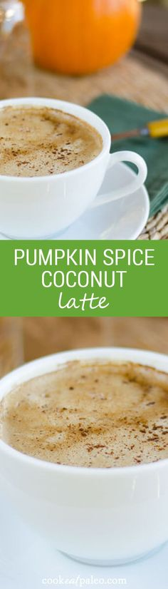 This pumpkin spice coconut latte recipe includes all the flavors of fall — pumpkin, honey, and spice. Coconut milk makes it rich, creamy and dairy-free. | Cook Eat Paleo