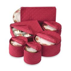 "Winterberry Dishes  Quilted Cotton China Storage Chests (Set of 6) - BedBathandBeyond.com $39.99 7"" diameter saucer plate chest 8"" diameter dessert plate chest 9 1/2"" salad plate chest 12"" diameter dinner plate chest 11.5"" W x 8"" D x 1"" H platter case 11.5"" W x 13.5"" D x 4"" H cup chest"