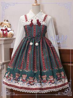 Heather Iris -Merry Candy Bears- Sweet Lolita Jumper Dress
