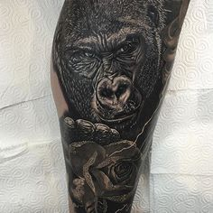 Gorilla tattoo by Phatt German #Gorilla #Tattoo #Portrait #BlackandGrey