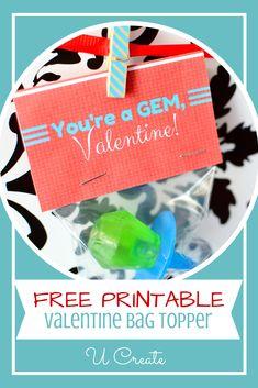 """Valentine Ring Pop Printables - """"You're a GEM!"""" at u-createcrafts.com"""