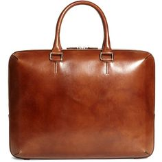 Brooks Brothers Burnished Leather Briefcase (65.460 RUB) ❤ liked on Polyvore featuring men's fashion, men's bags, men's briefcases, cognac and mens leather briefcase