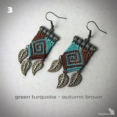 Micro macrame earrings. Made with Linhasita 0,5 mm cord. Available in different color combinations: 1. cherry black - caramel 2. amethyst - olive green 3. green turquoise - autumn brown 4. teal - old gold 5 terracotta - old bronze If you want another combination of colors, do