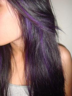 black Hair with Purple Peek A Boo Highlights | ... look like. Peek-a-boo purple highlights! Just a hint of color