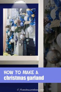 This blue, white and gold Christmas garland looks beautiful over this fireplace mantle. #fromhousetohome #christmas #DIYChristmas #Xmas #fireplace #christmasdecor