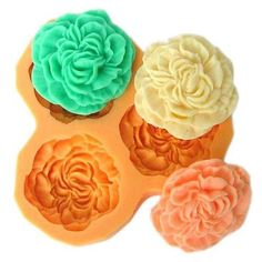Carnation style 3 flower reusable silicone mold