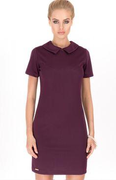Makadamia M185 sukienka śliwka Kobieca sukienka dostepna w kilku wersjach kolorystycznych