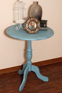 Blue Chalkpainted Distressed Table http://www.restorationredoux.com/?p=16
