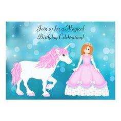 Unicorn Birthday Invitation Unicorn and Princess with Red Hair Birthday Card