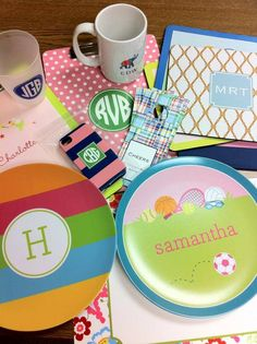 Boatman Geller goodies. I love these plates for the grandkids! So many designs - let us help you customize! Find it at Sarah B., Madison, WI 608-233-2501