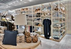 New Zara Home store Milan, interior visual merchandising, table and object bays.