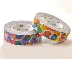 Descatalogados-japonés Washi cintas Masking / rojo y amarillo manchas coloridas para niños fiesta de cumpleaños, regalo de embalaje (15m largo, 50 por ciento más)