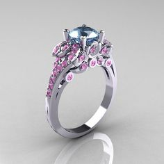 Classic 14K White Gold 1.0 CT Aquamarine Light Pink Sapphire